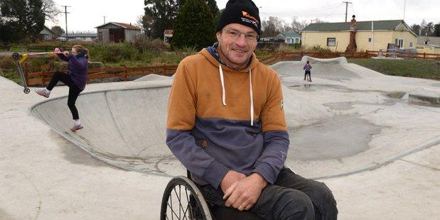 Skatepark development group chairman Dallas Storer at Kaitangata skate park. Photo / Linda Robertson
