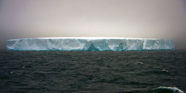 View of an iceberg in front of Argentinian Esperanza military base. Photo / Getty