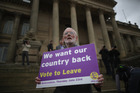 A Vote to Leave campaigner holds a placard as Leader of the United Kingdom Independence Party (UKIP). Photo / Getty