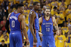Russell Westbrook, Kevin Durant and Steven Adams playing for the Oklahoma City Thunder. Photo / Getty Images