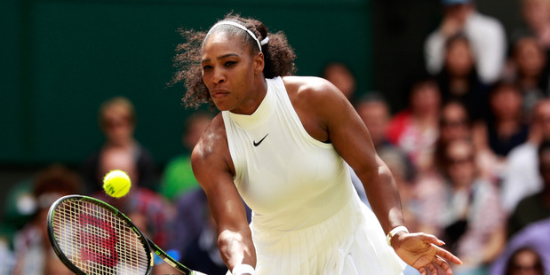 Serena Williams plays a forehand against Annika Beck at Wimbledon. Photo / Getty Images