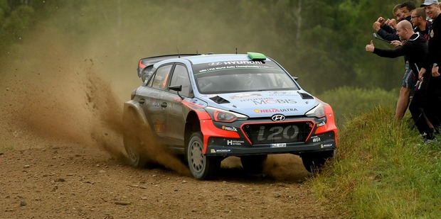 Hayden Paddon during Day Three of the WRC Poland on July 3. Photo / Getty Images
