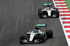 Nico Rosberg leads Lewis Hamilton at the Austrian Grand Prix. Photo / Getty Images