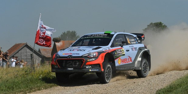 Hayden Paddon during Day Two of the WRC Poland. Photo / Getty Images
