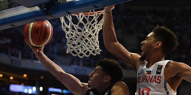 Tai Webster lays it in against the Philippines. Photo / Getty