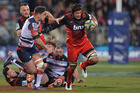 Jordan Taufua of the Crusaders charges forward during the round 16 Super Rugby match between the Crusaders and the Rebels at AMI Stadium. Photo / Getty