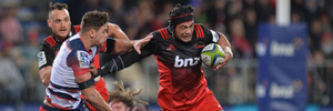 Jordan Taufua of the Crusaders charges forward. Photo / Getty
