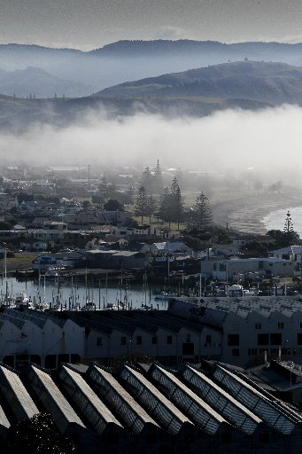 Without any wind, a bank of fog remained over parts of the coast of Napier for most of the day.