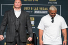 Brock Lesnar and Mark Hunt pose for a picture during the UFC 200: Press Conference in KA Theater at MGM Grand Hotel. Photo / Getty Images.