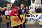Winston Peters and Annette King collected the petition against the changes to SuperGold public transport cards for senior citizens. Photo / Nicholas Jones