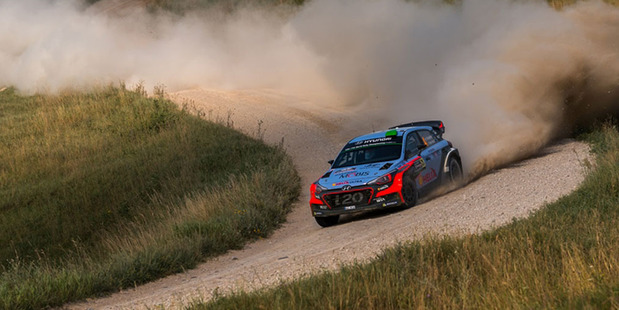Hayden Paddon has climbed to third in the World Rally Championship standings after finishing third in Rally Poland. Photo / Timo Anis.