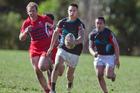 Te Wharekura o Mauao fullback Jake Gardiner sprints away to score his team's sixth try against Bethlehem College First XV on Saturday. Photo / Andrew Warner
