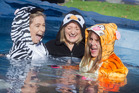 Laura Vaughan (left), Staci Meecham and Michelle Creswell were shocked by the cold water. PHOTO/BEN FRASER