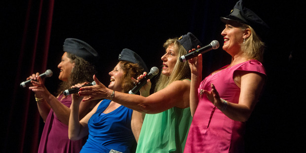 The audience at the Mayoral Concert for the Elderly enjoyed the sounds of vocal group Finely Tuned,  Marlene Badger (left), Evelyn Falconer, Sue Morrison and Tania Pinfold. Photo / Ben Fraser