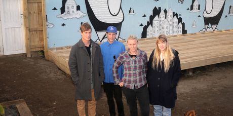 Jamie Waugh, Jack Mitchell-Anyon, Charlotte Melser and Ellen Waugh are behind The Citadel which will open in Castlecliff in November. Photo/ Bevan Conley