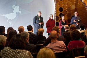 BOP Film's strategic presentation by Sir Bob Harvey (left), Philippa Mossman, Kylie DellaBarca Steel and Anton Steel.