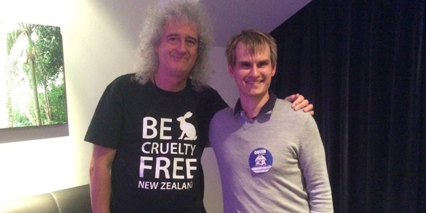 Nick Braae says Brian May was very friendly, polite, and really interested in his work. Photo / Supplied