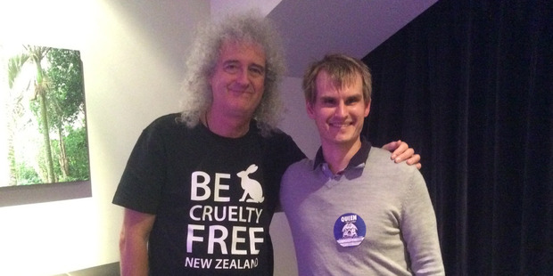 Nick Braae left with guitarist Brian May.