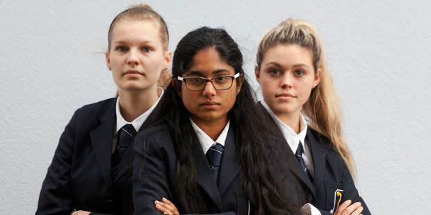 Loading Joy Ackerley, 16, Sandalika Illangamudalige, 16, and Selena Wright, 17, of Tauranga Girls' College are in the final of the 2016 Secondary Schools' Mooting Competition. Photo / Andrew Warner