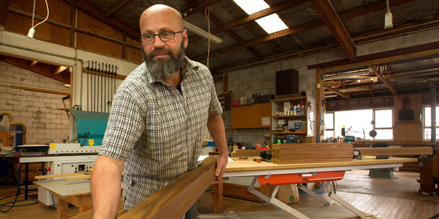Colin Hayes of Bespoke Joinery is building prototype carts for the new Farmers' Market. Photo / Ben Fraser