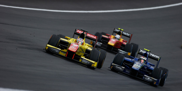 Mitch Evans (yellow car) grabbed 28 points at the GP2 champs in Austria last weekend to jump from 10th to second in the leadership standings. Photo / Supplied