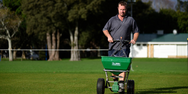 Head groundsman Cameron Burns at work at Tauranga Domain for the final time last Thursday. Photo / George Novak