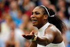 Serena Williams of the U.S reacts as she misses a shot against Christina McHale of the US during their women's single match on day five of the Wimbledon. Photo / AP.