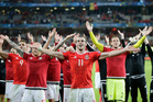 Wales' Gareth Bale, center, celebrates with his teammates after their 3-1 win at the end of the Euro 2016 quarterfinal soccer match between Wales and Belgium. Photo / AP.