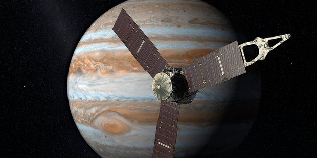 NASA renderings of the Juno spacecraft near Jupiter. Photo / AP