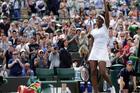 Venus Williams celebrates after beating Yaroslava Shvedova at Wimbledon. Photo / AP