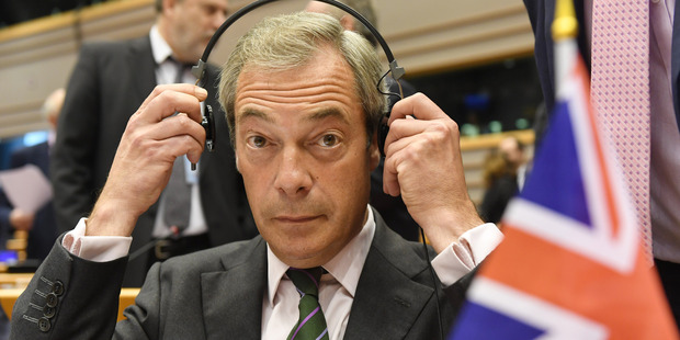 Nigel Farage told reporters, 'My aim in being in politics was to get Britain out of the European Union.' Photo / AP