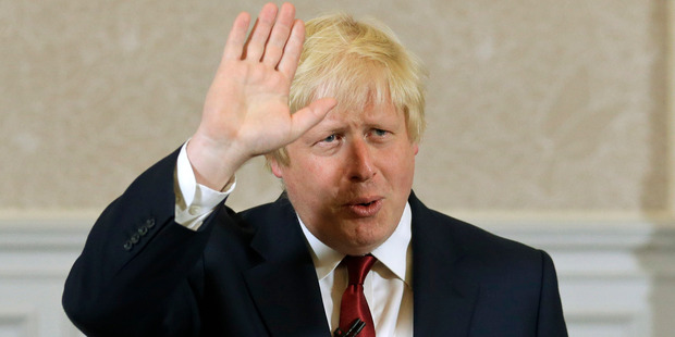 Former London mayor and Brexiteer Boris Johnson waves as he announces that he will not run for leadership of Britain's ruling Conservative Party. Photo / AP