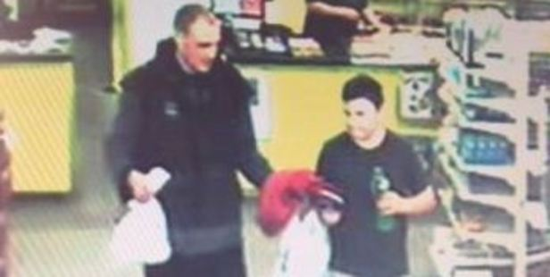 A CCTV picture showing the last confirmed sighting of Alex Fisher with his brother Eric McIssac. Photo / Supplied
