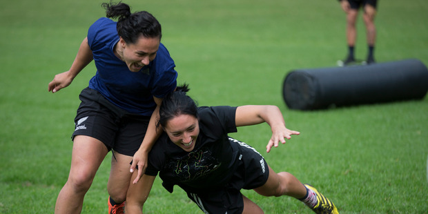 Rio Olympics feature. New Zealand women sevens team captain Sarah Goss, right, during a training session at their Mt Maunganui base, in preparation for the Rio Olympic Games. Photo / Brett Phibbs.