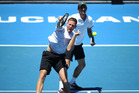 Michael Venus and doubles partner Mate Pavic at the ASB Classic. Photo / Doug Sherring