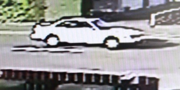 Loading CCTV security video still of a white car on Shamrock St in Palmerston North. Photo / Supplied