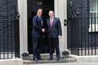 John Key (right) meets Britain's Prime Minister David Cameron outside 10 Downing Street in 2013. Photo / Claire Trevett