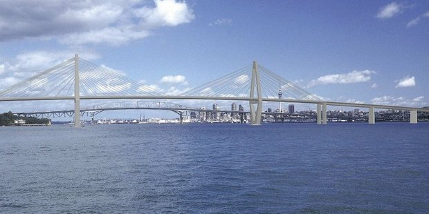 An artists impression of a second bridge across the Waitemata Harbour. Photo / Supplied