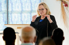 Hon Judith Collins, Minister of Corrections, speaks to prisoners. Photo / Warren Buckland