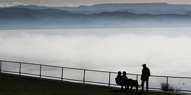 A blanket of white fog blanked out the sights from atop  Bluff Hill yesterday. Photo / Warren Buckland