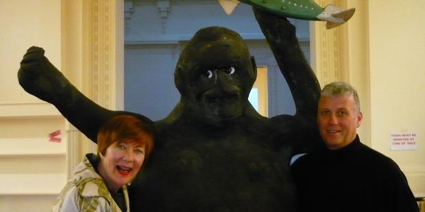 GOING APE: (LEFT) Kathy Cunningham and partner Rob Nesbit-Savage with their new best friend.