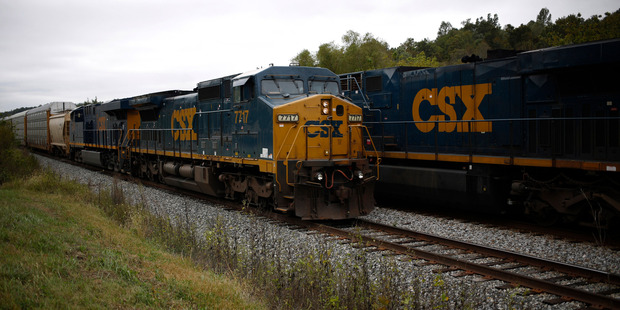A northbound CSX freight train passes a southbound CSX train in Kentucky, United States. Photo / Luke Sharrett