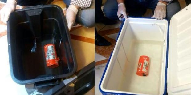 This picture shows the flight recorder (L) from the EgyptAir plane that crashed into the Mediterranean and one of the black boxes from Fight 804. Photo: AFP