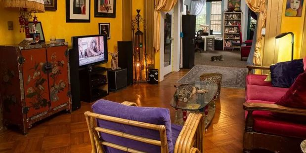Four cats live in the 'Parlour floor' of this early 1800s house, in the East Village of New York. Photo / Airbnb