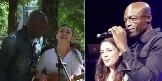 Seal and Poppy Waterman-Smith in the street and on stage. Photo / Twitter
