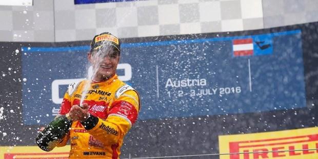 Mitch Evans celebrates on the podium in Austria. Photo / GP2 Media