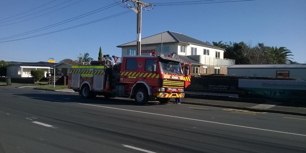 Girven Rd in Mount Maunganui was closed for some time as firefighters dealt with a ruptured gas line. Photo/John Borren