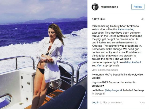 Mischa Barton's controversial Instagram post.