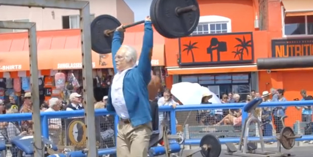 """Multi-time CrossFit Games competitor Kenneth """"Kenny"""" Leverich dressed as an old man to prank bodybuilders. Photo / YouTube"""