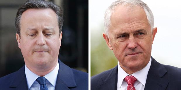 David Cameron and Malcolm Turnbull. Photos / AP, Doug Sherring